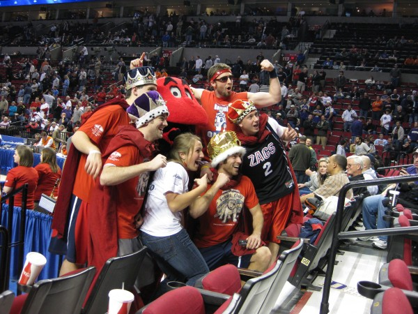 Big Red with Zag fans
